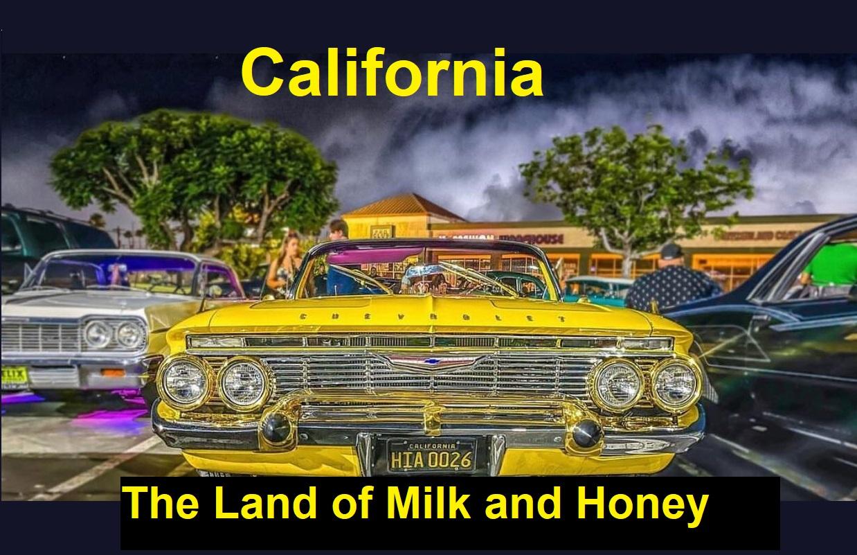 کالیفرنیا سرزمین شیر و عسل غرب طلایی ایالت انگور